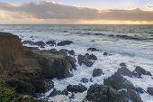 Rugged Coastline With Dramatic Sky In Distance. Montara, San Mateo County, California, Usa. poster