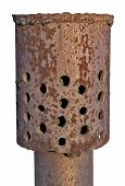 Rusty Pipe With Holes Throughout The Area. Isolated