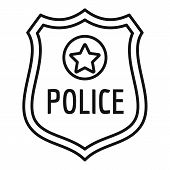 Police Gold Emblem Icon. Outline Police Gold Emblem Vector Icon For Web Design Isolated On White Bac poster