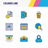 Illustration Of 9 Protection Icons Colored Line. Editable Set Of Mobile Transaction, Protected Compu poster