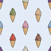 Vector Seamless Pattern With Icecream Cones. Colorful Cartoon Background With Wafer Icecream Cones.  poster