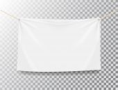 Textile Banner On Transparent Background. White Realistic Textile Banner With Folds. Blank Hanging F poster