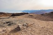 Amazing Panoramic Landscape View On Red Sea Coastline, Egypt, Sinai From The Mountain Or Har Cfachot poster