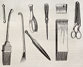 Upholstering tools old illustration. By unidentified author, published on Magasin Pittoresque, Paris