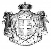 das alte Wappen Serbiens. Stich von Alwin Zschiesche veröffentlicht am
