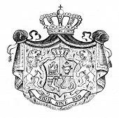 das alte Wappen der rumänischen Königreich. Stich von Alwin Zschiesche veröffentlicht am