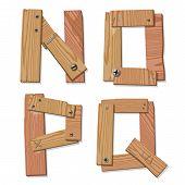 Rustic Wooden Font Alphabet Letters NOPQ