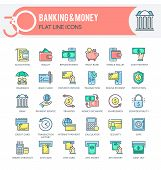 Set Of Filled Outline Multicolor Icons On Following Themes - Finance, Banking, Internet Banking, Mob poster