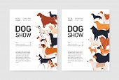 Bundle Of Flyer Or Placard Templates For Conformation Dog Show With Adorable Doggies Of Different Br poster