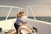 Yachting Sport. Child Cute Sailor Help With Ropes Yacht Bow. Adventure Boy Sailor Travelling Sea. Ba poster