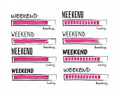 Weekend Loading. Happy Friday Meme Quote Business Funny Vector Design. Illustration Of Weekend Posit poster