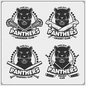 Cricket, Lacrosse, Baseball And Hockey Logos And Labels. Sport Club Emblems With Panther. Print Desi poster