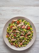 Avocado Tuna Salad. Chili Avocado Zesty Quinoa Salad With Tuna. poster