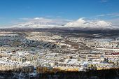 Winter Landscape Residential Buildings Of Petropavlovsk-kamchatsky City, Scenery Volcanoes Of Kamcha poster