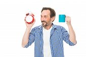 Good Morning Brings A Good Day. Mature Man Holding Alarm Clock And Cup. Bearded Mature Man With Anal poster