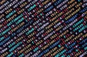 Javascript Code In Text Editor. Coding Cyberspace Concept. Screen Of Web Developing Code poster