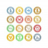 No Allergens Circle Stickers Colorful Stamp Set. No Gluten, No Dairy, No Peanuts Vector Labels In Pa poster