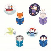 Big Set With Cute Animals Reading Different Books. Isolated Objects On White Background. Hand Drawn  poster