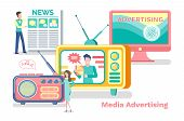 Media Advertisement Vector, Television And Radio With Antenna, Laptop Screen. Advertisement Product  poster