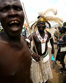 Unidentified Men Celebrate Independence of South Sudan in the capital Juba on 9 July 2011