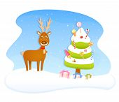 colorful Christmas wish card with a cute reindeer and candy Christmas tree