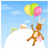cute Christmas illustration of a reindeer flying on balloons above nice winter landscape