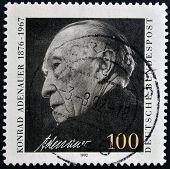 GERMANY - CIRCA 1992: A stamp printed in Germany shows Chancellor Konrad Adenauer circa 1992