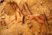 pic of teepee  - Scene from a Native American Indian Tipi showing a warrior and horse - JPG