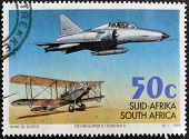SOUTH AFRICA - CIRCA 1995: A stamp printed in RSA celebrating 75 years of the South African Air Forc