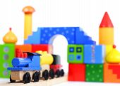 Houten speelgoed trein en blokken