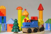 Wood Toy Train And Blocks poster