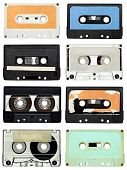 stock photo of magnetic tape  - collection of various vintage audio tapes on white background - JPG