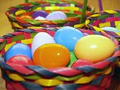 stock photo of peter cottontail  - three easter baskets in perspective  - JPG
