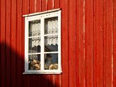 Red house with window