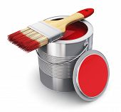 image of oil can  - Metal tin can with red paint and paintbrush isolated on white background - JPG
