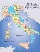 Illustrated Regional Map of Italy