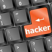 Hacker Word On Keyboard, Cyber Attack, Cyber Terrorism Concept