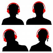 People With Headphones Black Silhouette