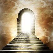 stock photo of tunnel  - Staircase leading to heaven or hell - JPG