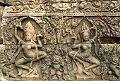 Apsara Carved On The Wall Of Angkor Wat, Cambodia