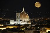 Cathedral In Florence And Night