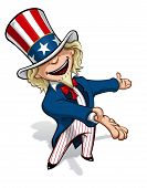 stock photo of uncle  - Clean-cut, overview cartoon illustration of Uncle Sam presenting.