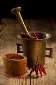 Cayenne-Schoten in Pfünder und gefräste Pfeffer auf Holztisch