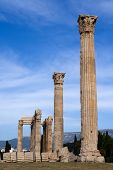 picture of olympian  - Columns of Ancient Temple of Olympian Zeus in Athens Greece on blue sky background - JPG