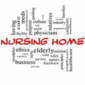 Nursing Home Word Cloud Concept In Red And Black