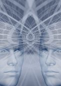 Binary Men Connected Brain Abstract