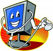 Computer Tv Monitor With Doctor Stethoscope