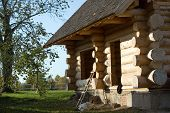 stock photo of swedish sauna  - A Construction of bath in a village - JPG