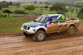 Portalegre, Portugal - November 3: Helder Oliveira Drives A Nissan Navara In Baja 500, Integrated On
