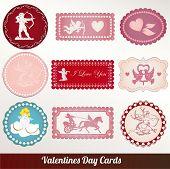 Vector set card of valentine's day vintage